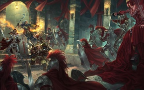 Картинка оружие, замок, доспехи, войны, маг, битва, красные плащи