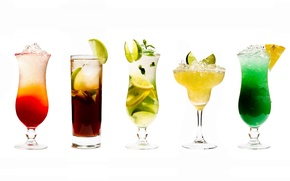 Обои коктели, лед, напитки, ананас, лайм