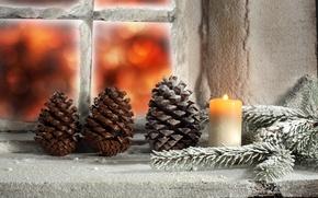 Обои праздники, рождество, еловую шишку