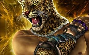 Картинка кошка, голова, воин, арт, пасть, мех, tekken, Zahid Raza Khan