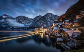 Картинка пейзаж, горы, ночь, озеро, дома, Австрия, Альпы, Austria, Hallstatt, Alps, Гальштатское озеро, Гальштат, Lake Hallstatt