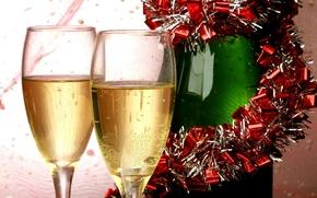 Картинка бокал, новый год, new year, шампанское, 2014