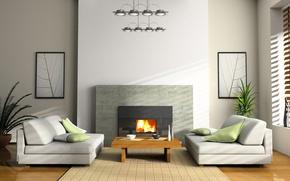 интерьер, комната, квартира, дизайн, стиль, диван, кресло, огонь, камин, стол, картины, растения, чашка, бумага, ваза, обои