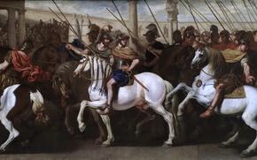 Картинка картина, лошади, история, Аньелло Фальконе, Римские Солдаты в Цирке