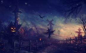Картинка ночь, арт, Halloween, мельницы, пугало, хеллоуин