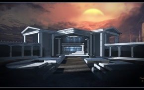 Картинка небо, солнце, горы, здание, Architecture Study
