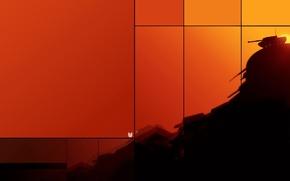 Картинка желтый, гора, танк