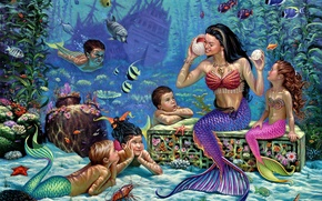 Картинка рыбы, дети, русалки, морское дно, фрегат, Wil Cormier