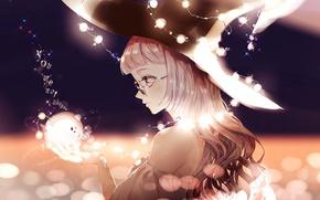 Картинка девушка, огни, шляпа, аниме, арт, очки, гирлянда, touhou, kirisame marisa, asml30