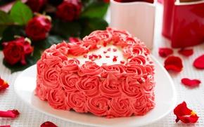 Картинка любовь, праздник, чай, сердце, кофе, еда, розы, букет, чашки, торт, love, rose, cake, крем, десерт, ...