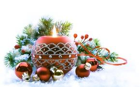 Картинка снег, праздник, игрушки, новый год, свеча, ель, декорации, happy new year, christmas decoration, новогодние обои, …