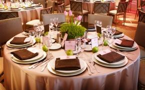 Картинка цветы, стол, стулья, тарелки, ресторан, сервировка, столовые приборы, салфетки