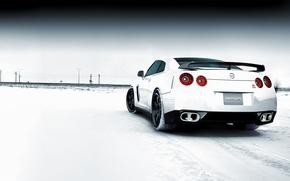 Картинка зима, снег, Nissan GTR Snowy Field