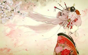 Обои девушка, весна, сакура, тату, арт, профиль, кимоно, vocaloid, hatsune miku, yache, sakura miku