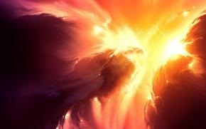 Картинка небо, свет, красный, свечение