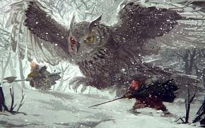 Картинка зима, лес, снег, сова, мышь, арт, сабля