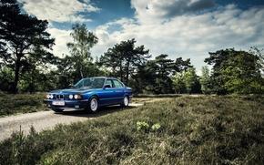 Картинка BMW, Классика, Синяя, БМВ, E34, 535i