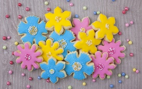 Картинка цветы, печенье, сахар, blue, flowers, выпечка, сладкое, sweet, глазурь, бусинки, cookies, pastel