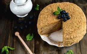 Картинка черника, торт, мята, крем, сладкое