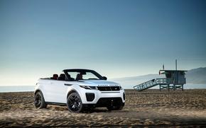 Картинка Evoque, рендж ровер, Land Rover, Range Rover, пляж, эвок, песок, ленд ровер, кабриолет