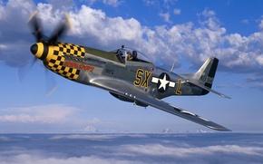 Обои небо, облака, Mustang, истребитель, Мустанг, пропеллер, самолёт, P-51, North American, Норт Америкэн, Р-51