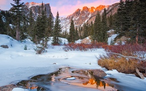 Обои зима, лес, горы, природа, река