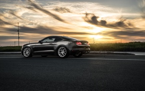 Картинка 2015, Car, Muscle, Avant, Garde, Sunset, Rear, Wheels, Mustang, Ford