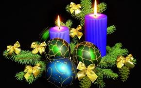 Картинка шарики, украшения, узор, игрушки, новый год, рождество, свечи, бант, шишки