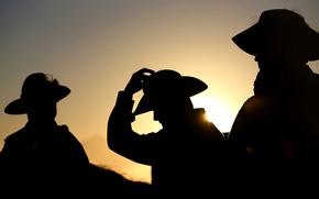 Картинка шляпа, силуэт, Австралия, мужчины, День Анзак, Керрамбин Квинсленд