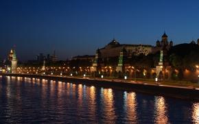 Картинка огни, ночь, набережная, река, кремль, светильники, город