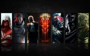 Картинка Hitman, Crysis, Assassins Creed, Diablo 3, Mass Effect, Batman Arkham City, Шепард, Эцио Аудиторе, Witcher, …