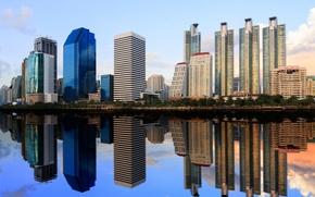 Картинка город, отражение, река, здания, Thailand, Bangkok