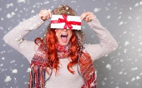 Обои девушка, улыбка, шапка, Новый Год, Рождество, рыжая, Christmas, праздники, New Year, новогодняя, Конверт