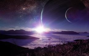 Картинка солнце, облака, горы, туман, звезда, Планета