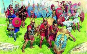 Обои трава, камни, земля, рисунок, доспехи, арт, мечи, щиты, дротики, копья, пехота, центурион, А.Каращук, велиты, III ...