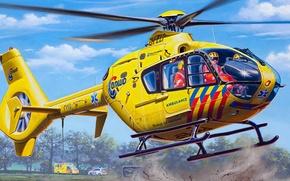 Картинка рисунок, арт, Eurocopter, Airbus, EC135, Helicopters, многоцелевой легкий вертолет, транспортный вертолёт, Санитарная авиация