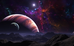Картинка звезды, поверхность, горы, ландшафт, планеты, газовый гигант