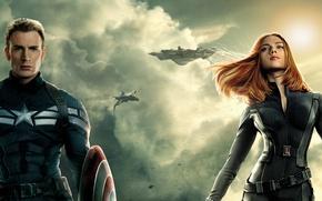Обои Scarlett Johansson, Girl, Action, Red, Men, Guns, Marvel, Captain America, Black Widow, Battleship, Natasha Romanoff, ...