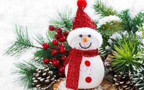 Картинка Christmas, tree, snowman, decoration