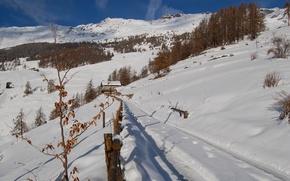 Картинка зима, дорога, небо, снег, горы, дом