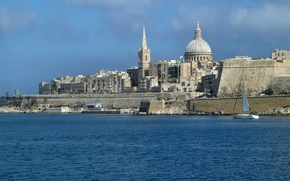 Картинка море, небо, дома, купол, Мальта, Валлетта