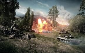 Картинка взрыв, бой, танки, Battlefield