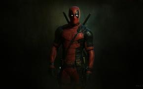 Обои красный, marvel, Deadpool, Дэдпул, комикс