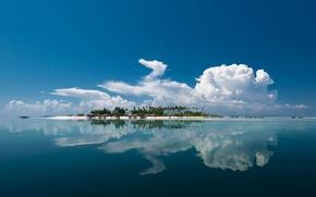 Картинка море, облака, отражение, остров
