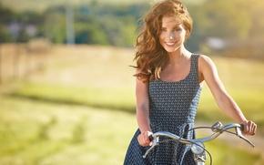Картинка лето, девушка, радость, велосипед, улыбка, настроение, отдых, релакс, романтика, позитив, размытость, прогулка, пикник, красивая, bike, …