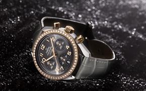 Картинка стиль, золото, часы, кожа, Omega, Speed Ladies