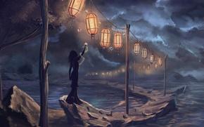 Картинка девушка, ночь, дождь, арт, фонари