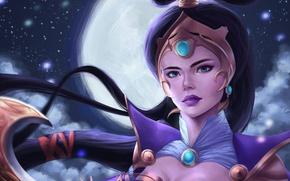 Обои луна, взгляд, lol, арт, Diana, League of Legends