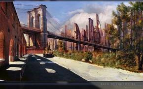 Картинка мост, город, фантастика