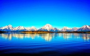 Картинка снег, горы, озеро, отражение